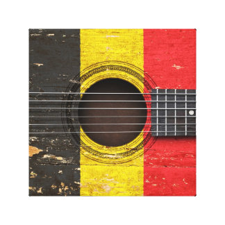 Old Acoustic Guitar with Belgian Flag Gallery Wrap Canvas