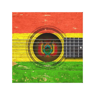 Old Acoustic Guitar with Bolivian Flag Canvas Print