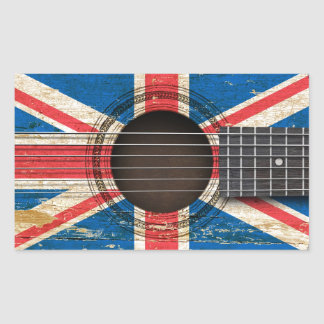 Old Acoustic Guitar with British Flag Rectangle Sticker