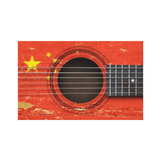 Old Acoustic Guitar with Chinese Flag Gallery Wrapped Canvas