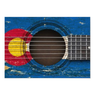Old Acoustic Guitar with Colorado Flag Personalized Invites