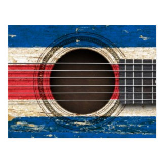 Old Acoustic Guitar with Costa Rica Flag Postcard