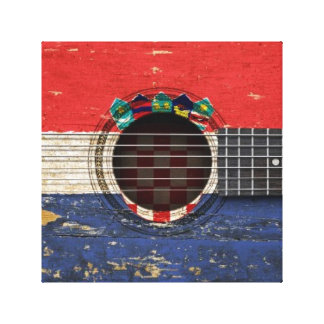 Old Acoustic Guitar with Croatian Flag Gallery Wrapped Canvas