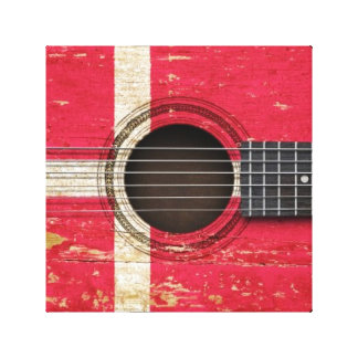 Old Acoustic Guitar with Danish Flag Gallery Wrapped Canvas