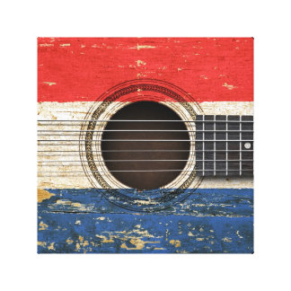 Old Acoustic Guitar with Dutch Flag Canvas Print
