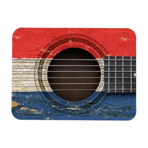 Old Acoustic Guitar with Dutch Flag Vinyl Magnets