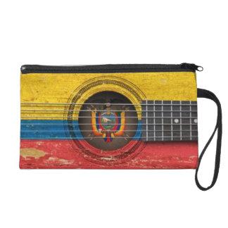 Old Acoustic Guitar with Ecuadorian Flag Wristlet Clutch