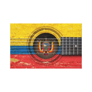 Old Acoustic Guitar with Ecuadorian Flag Stretched Canvas Prints