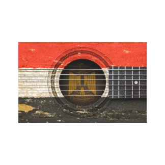 Old Acoustic Guitar with Egyptian Flag Stretched Canvas Print