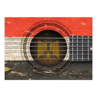 Old Acoustic Guitar with Egyptian Flag Custom Invitations