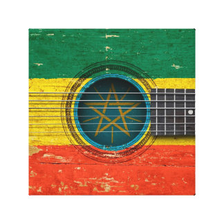 Old Acoustic Guitar with Ethiopian Flag Gallery Wrap Canvas