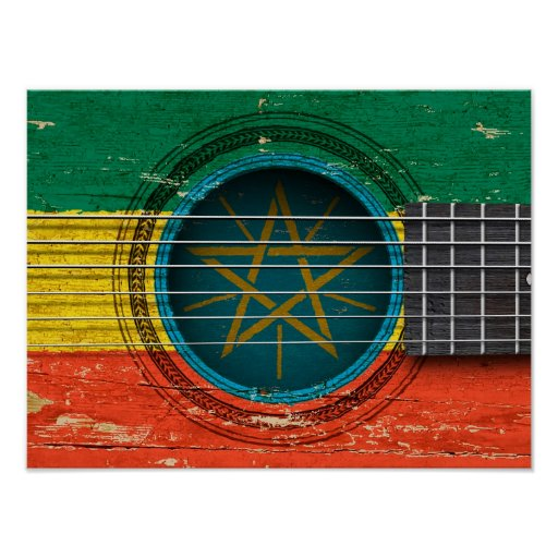 Old Acoustic Guitar with Ethiopian Flag Posters