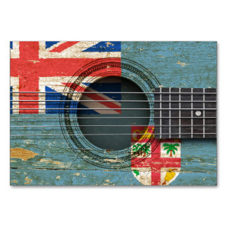 Old Acoustic Guitar with Fiji Flag Card