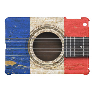 Old Acoustic Guitar with French Flag iPad Mini Covers