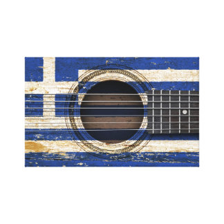 Old Acoustic Guitar with Greek Flag Gallery Wrap Canvas