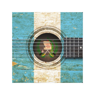 Old Acoustic Guitar with Guatemalan Flag Gallery Wrap Canvas