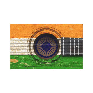 Old Acoustic Guitar with Indian Flag Gallery Wrapped Canvas