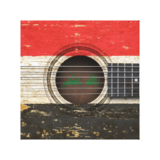 Old Acoustic Guitar with Iraqi Flag Canvas Print
