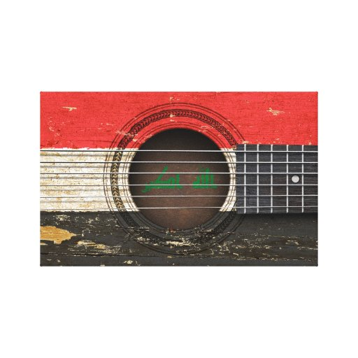 Old Acoustic Guitar with Iraqi Flag Gallery Wrapped Canvas