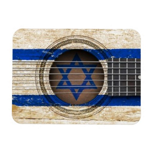 Old Acoustic Guitar with Israeli Flag Vinyl Magnets
