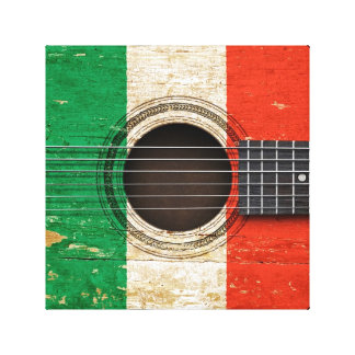 Old Acoustic Guitar with Italian Flag Gallery Wrapped Canvas