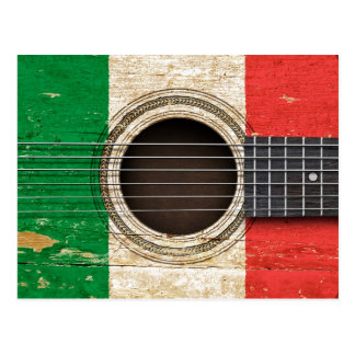 Old Acoustic Guitar with Italian Flag Postcard