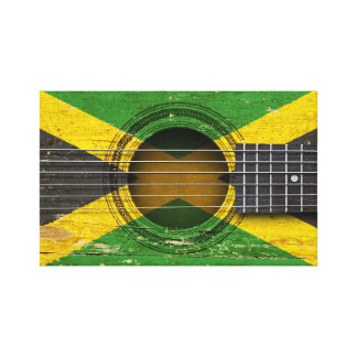 Old Acoustic Guitar with Jamaican Flag Gallery Wrap Canvas