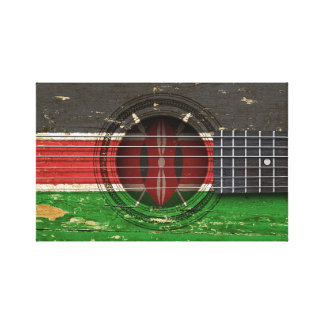 Old Acoustic Guitar with Kenyan Flag Stretched Canvas Print