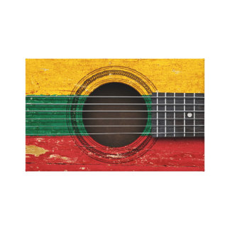 Old Acoustic Guitar with Lithuanian Flag Canvas Print