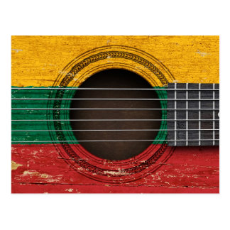 Old Acoustic Guitar with Lithuanian Flag Postcard