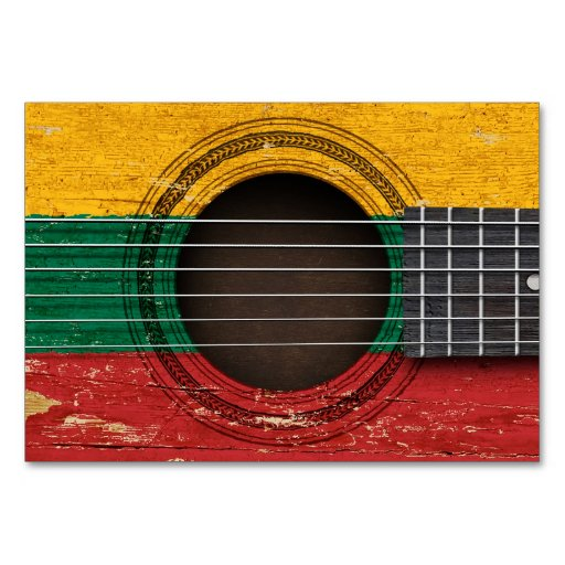 Old Acoustic Guitar with Lithuanian Flag Table Cards