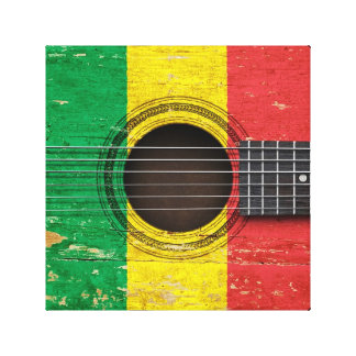 Old Acoustic Guitar with Mali Flag Stretched Canvas Print