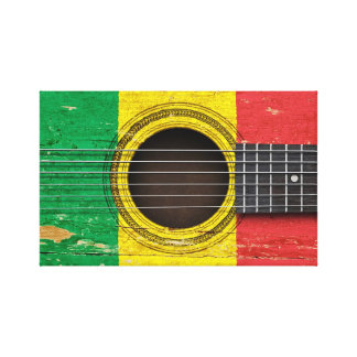 Old Acoustic Guitar with Mali Flag Canvas Prints