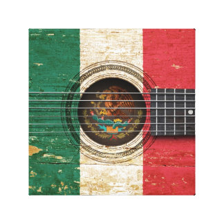 Old Acoustic Guitar with Mexican Flag Canvas Print