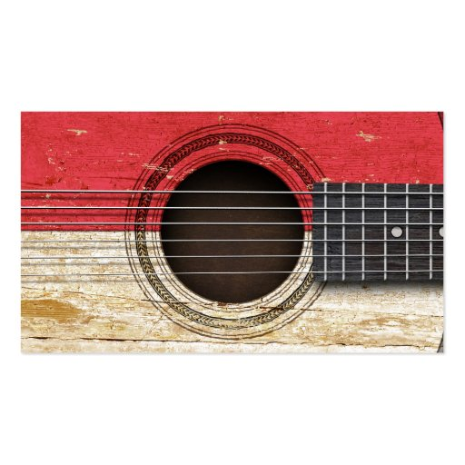 Old Acoustic Guitar with Monaco Flag Business Card Template