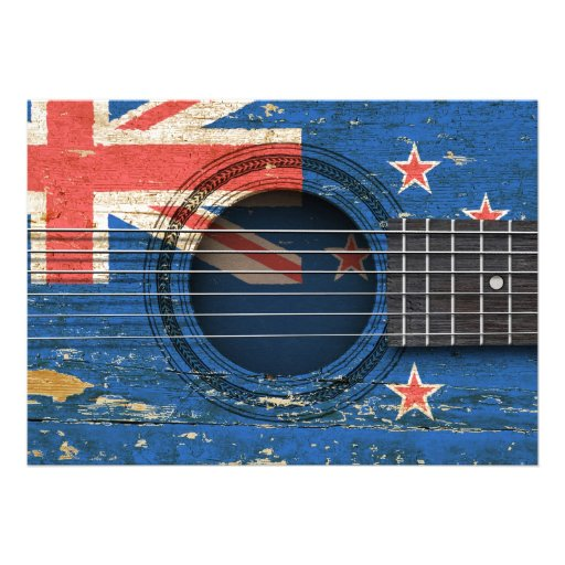 Old Acoustic Guitar with New Zealand Flag Invites