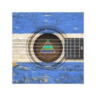 Old Acoustic Guitar with Nicaraguan Flag Gallery Wrap Canvas