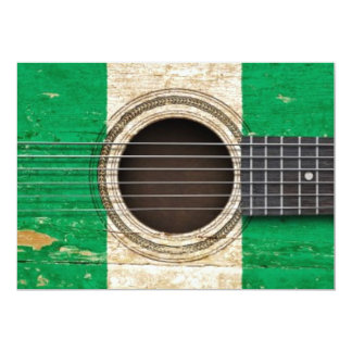 Old Acoustic Guitar with Nigerian Flag 13 Cm X 18 Cm Invitation Card