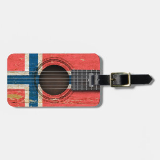 Old Acoustic Guitar with Norwegian Flag Luggage Tag