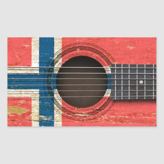 Old Acoustic Guitar with Norwegian Flag Rectangular Sticker