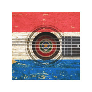 Old Acoustic Guitar with Paraguay Flag Canvas Print
