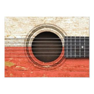 Old Acoustic Guitar with Polish Flag 13 Cm X 18 Cm Invitation Card
