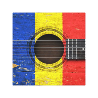 Old Acoustic Guitar with Romanian Flag Gallery Wrapped Canvas