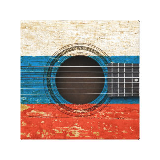 Old Acoustic Guitar with Russian Flag Stretched Canvas Print