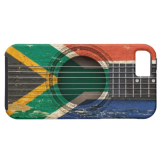 Old Acoustic Guitar with South African Flag Tough iPhone 5 Case