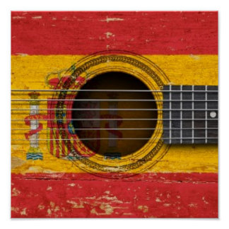 Old Acoustic Guitar with Spanish Flag Poster