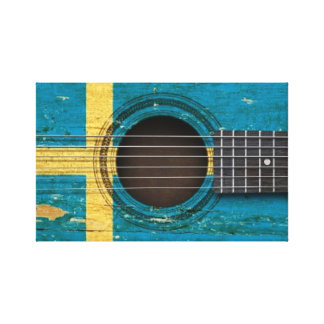 Old Acoustic Guitar with Swedish Flag Canvas Print