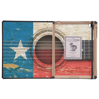 Old Acoustic Guitar with Texas Flag iPad Cover