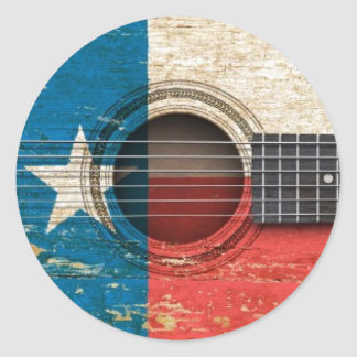 Old Acoustic Guitar with Texas Flag Sticker