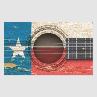 Old Acoustic Guitar with Texas Flag Rectangular Sticker
